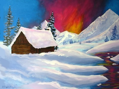 How to Paint Snow and Mountains:  Simple Acrylics Painting