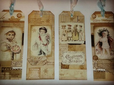 Making Christmas Tags from off cuts of scrap paper and printable's.