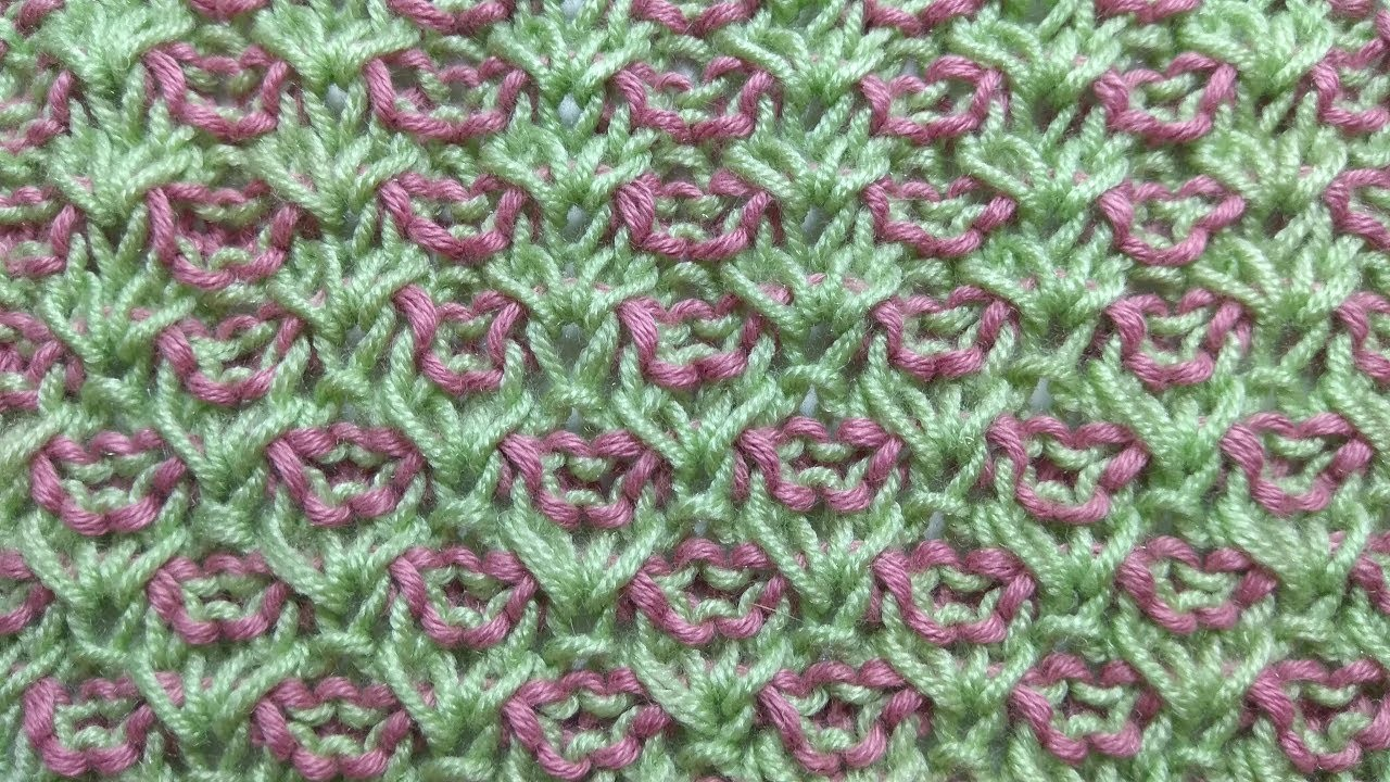 Plain Of Flowers Two Color Knitting Stitch Pattern Free Chart