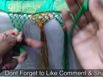 Simple knot saree kuchu design using Crystals I New Pattern