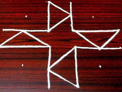 Simple rangoli art designs for beginners - easy pongal kolam designs with 6 dots - latest muggulu