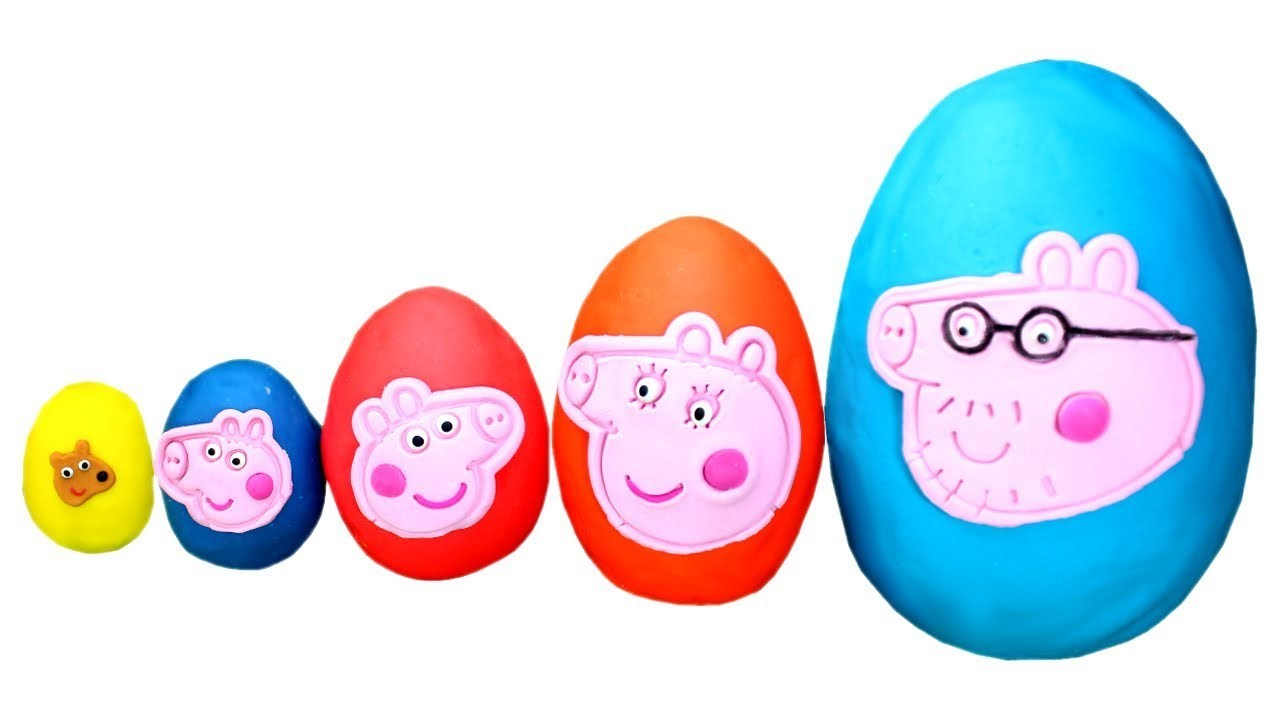 Smallest to Biggest Peppa Pig Play Doh Surprise Eggs Learn Sizes with Peppa's Family & Toys for Kids