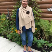 Tan Fleece Wrap and Matching Flower Pin