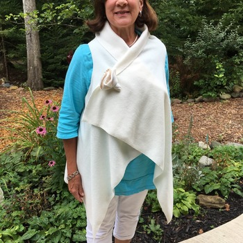 White Fleece Wrap and Matching Flower Pin