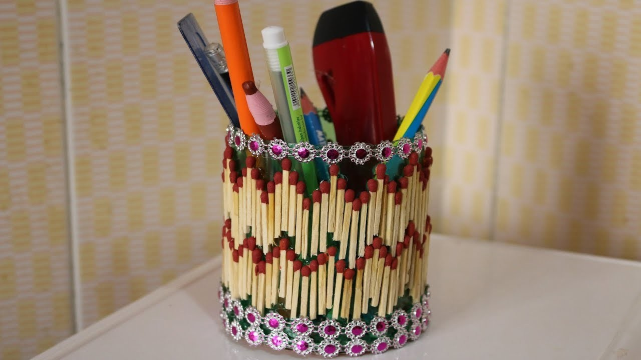 Amazing Innovative Idea Of Matchstick Beautiful Pen Holder Using