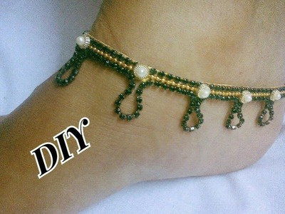 Black stone Anklets - How to make this stone Anklets | jewellery tutorials