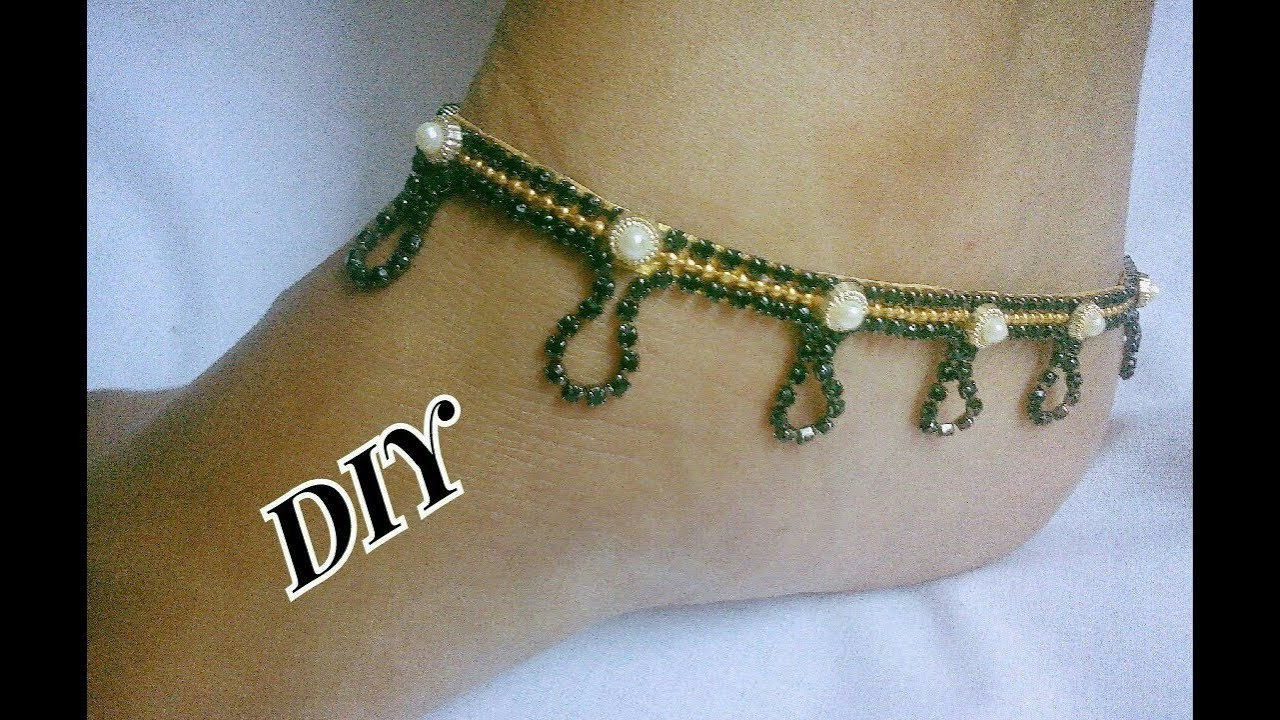 Black stone Anklets - How to make this stone Anklets   jewellery tutorials