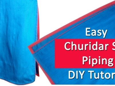 Churidar slit with Piping easy method, Kurti Slit with Piping, Piping Slit, DIY malayalam tutorial