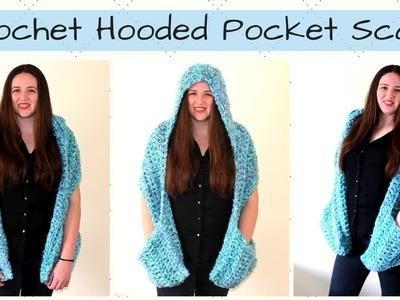 Crochet Hooded Pocket Scarf - Crochet Ocean Breeze Hooded Pocket Scarf