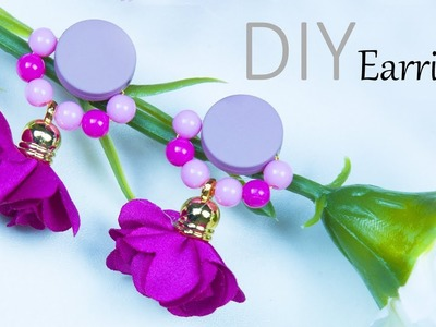 DIY Beautiful earrings in just 1 minute ( Easy ) | How to make jewelry | Beads art