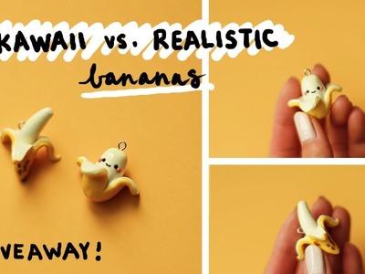DIY Kawaii vs Realistic Bananas ???? Polymer Clay Tutorial + GIVEAWAY!