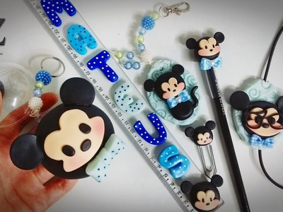 DIY - Material escolar Mickey Cute em biscuit - Passo a Passo