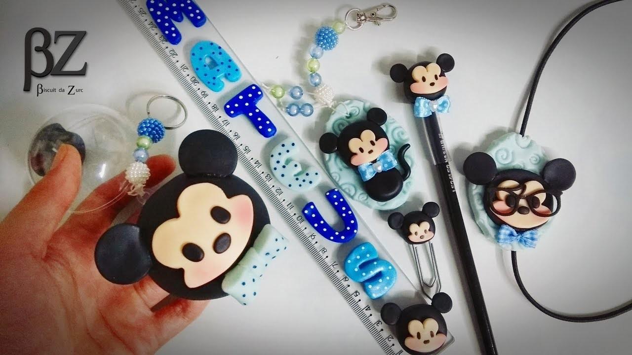 DIY - Material escolar Mickey Cute em biscuit - Passo a Passo