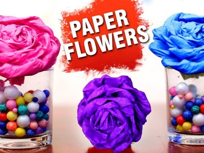 DIY Paper Flowers | Paper Crafts | Making Of Paper Flowers | Rose Paper Flowers | Easy DIY Crafts