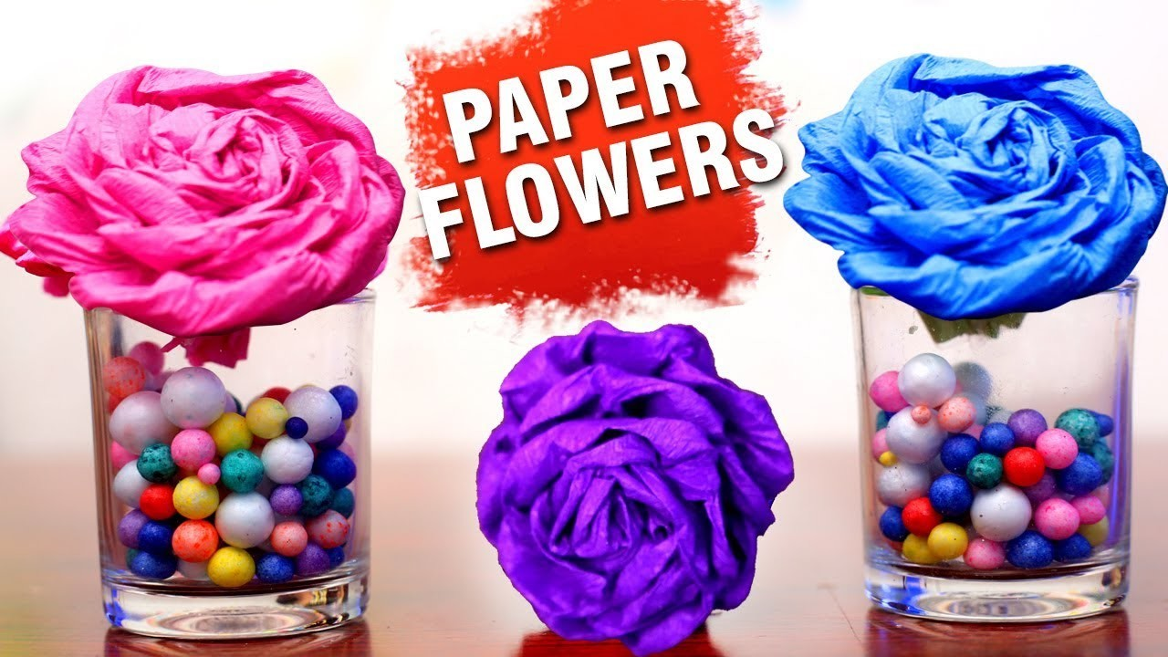 DIY Paper Flowers   Paper Crafts   Making Of Paper Flowers   Rose Paper Flowers   Easy DIY Crafts