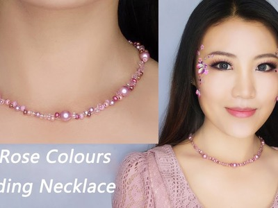 Easy DIY Beading Pearl Necklace Tutorial. Rose Colour Necklace.DIY Handmade Jewelry