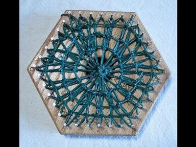 Hexagon Weaving   4 inch loom teneriffe basic technique