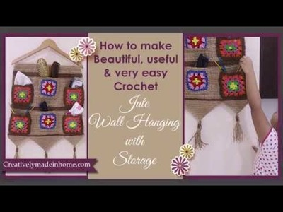 How to make Crochet Jute wall hanging with storage