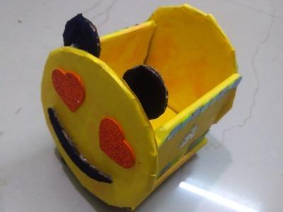 How to make Emoji.Smiley Cardboard Storage Box | Recylced DIY Craft | Best out of Waste |Easy Craft