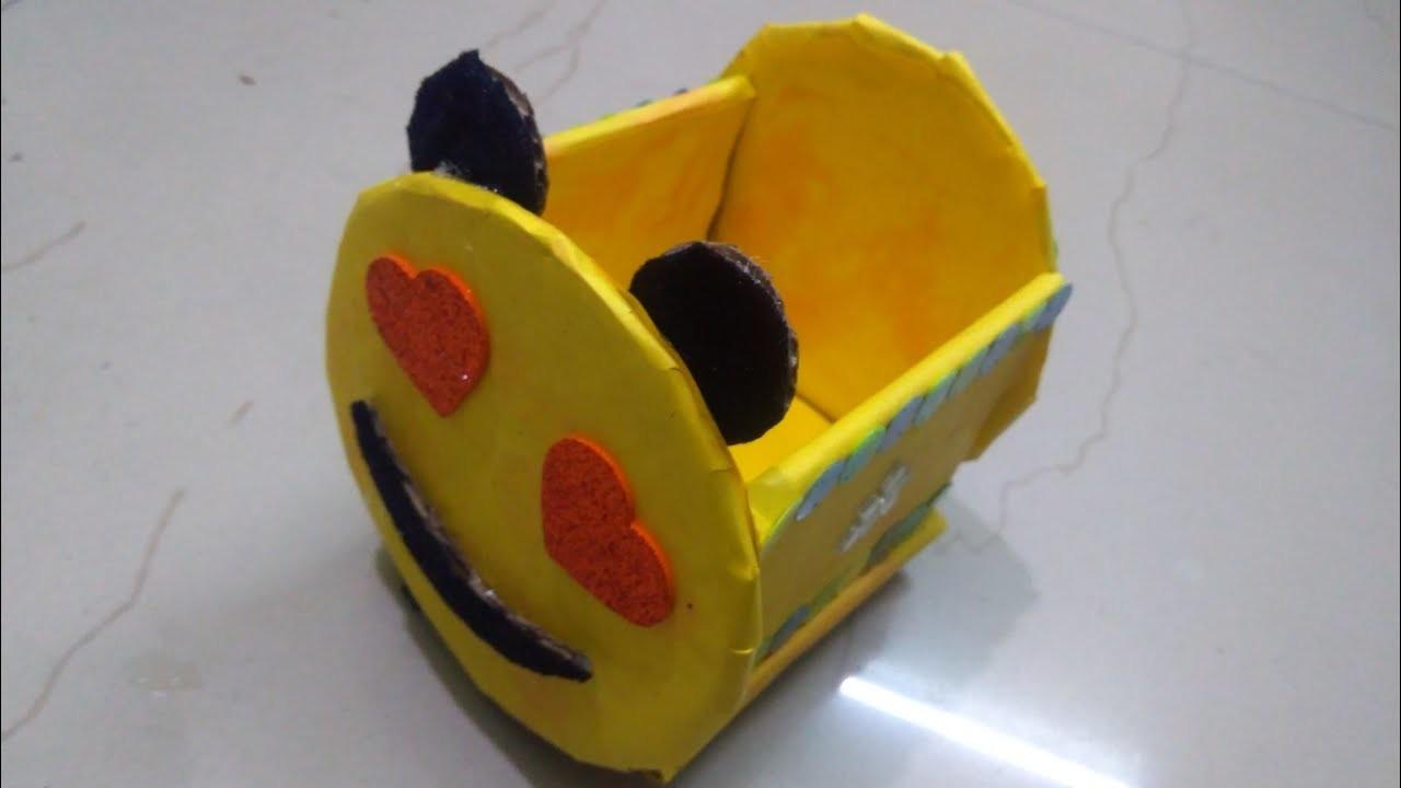 How to make Emoji.Smiley Cardboard Storage Box   Recylced DIY Craft   Best out of Waste  Easy Craft