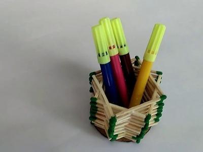 Matchstick craft idea | Matchstick pen stand