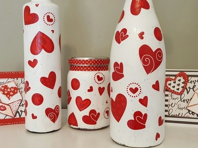 MOD PODGE BOTTLES USING GIFT TISSUE | VALENTINE'S DAY CRAFTS