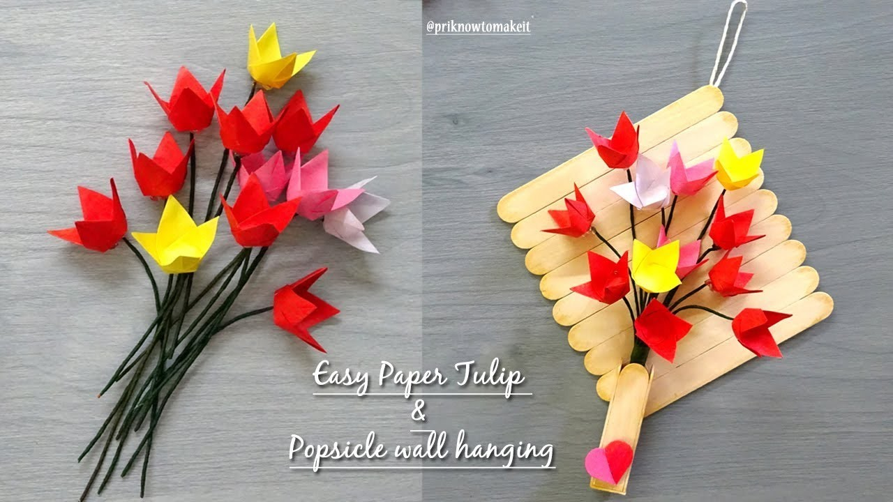 Paper Flowers Tulip Origami Flower Tutorial Popsicle Stick Wall