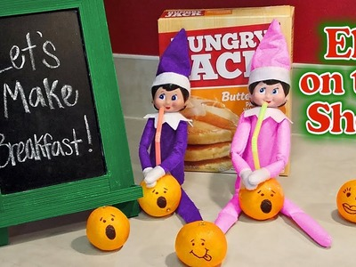 Purple & Pink Elf on the Shelf - Making Breakfast & Drinking Oranges! Day 16