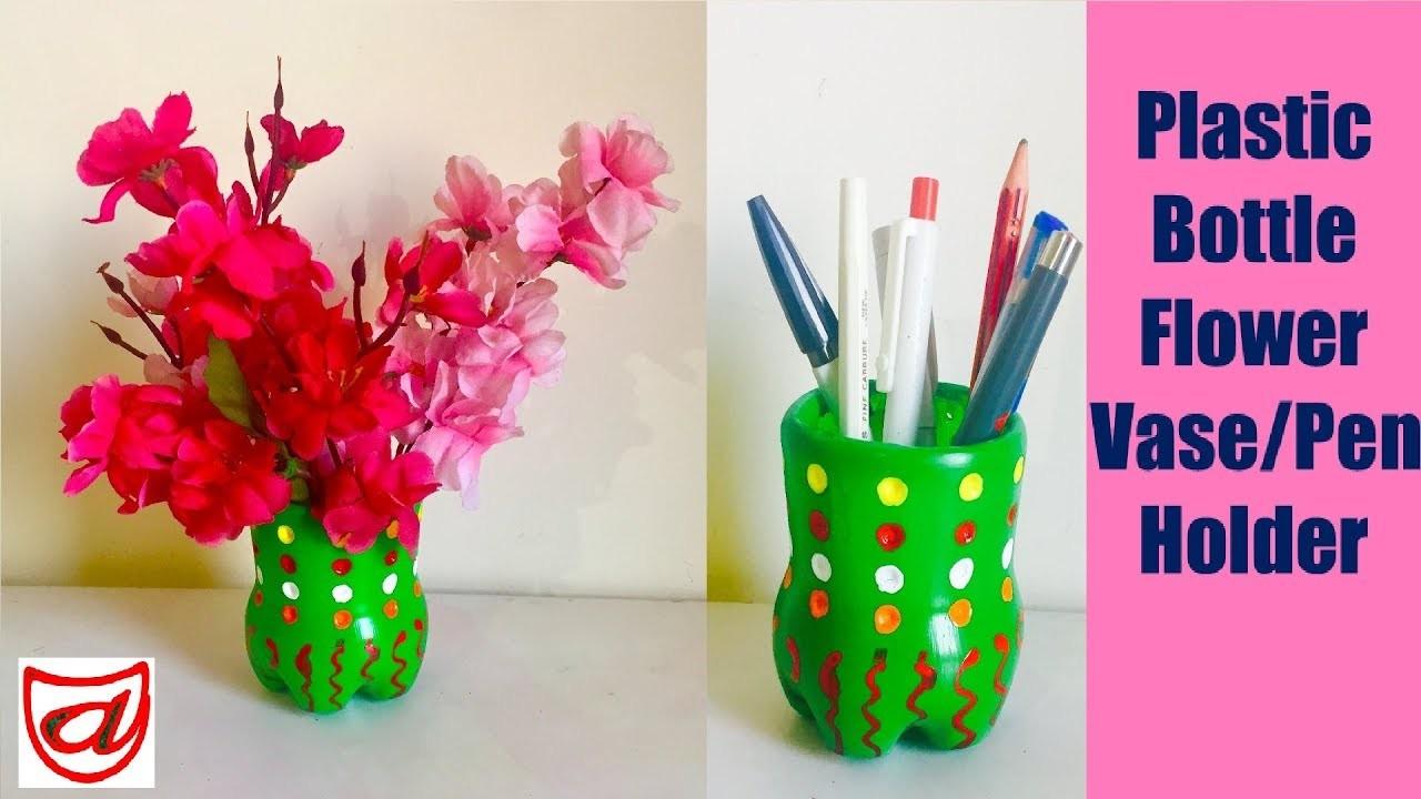 Reuse Waste Plastic Bottles Making Flower Vase Pen Holder Diy