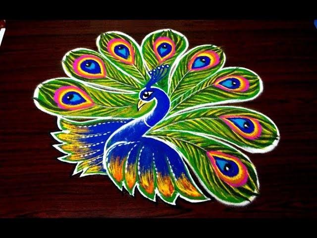 Simple peacock rangoli designs for diwali, easy kolam ...