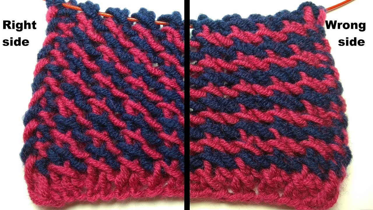 Super easy!!! Tweed, two-color knitting stitch pattern + free chart