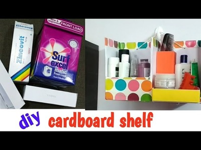 Wall shelf.desk making from  cardboard box easily.makeup organizer diy.surf excel box reuse idea