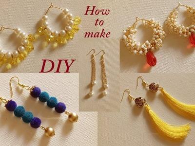 5 Simple Daily Wear Fancy Earrings    DIY Tassel Earrings and Hanging Earrings