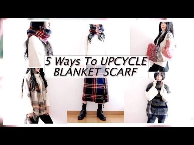5 Ways To UPCYCLE BLANKET SCARF ♻️ THRIFT FLIP ✂️ DIY. 옷리폼. 簡単リメイクㅣmadebyaya