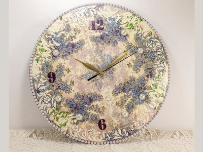 #63 decoupage of clock for beginners - diy wall clock decoration ideas