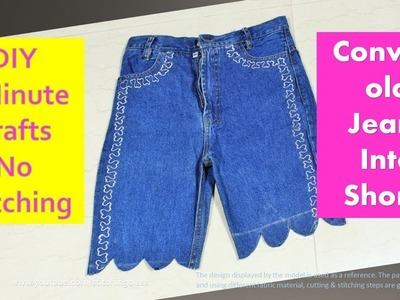 Convert Old Jeans into Shorts, 5 Minutes Crafts, DIY How to Make Shorts #stitchingclass