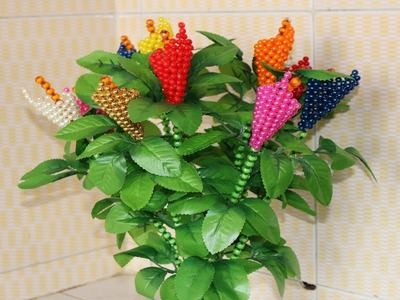DIY Artificial Bonsai Tree Tutorial - How To Make Artificial Flower Tree - Beaded Tulip Flower