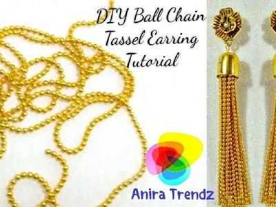 DIY Ball Chain Tassel Earring Hanging Tutorial. Trendy Designer 5 mins Earring