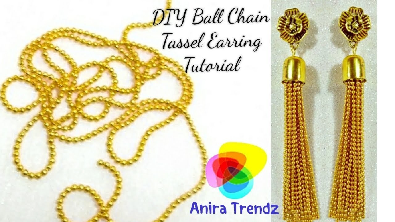 DIY Ball Chain Tassel Earring Hanging Tutorial. Trendy Designer 5 mins Earring