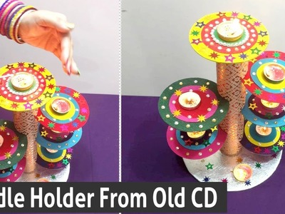 DIY Creative Ways To Reuse Old CD -  How to Make Candle Holder From Old CD - Best out of Waste