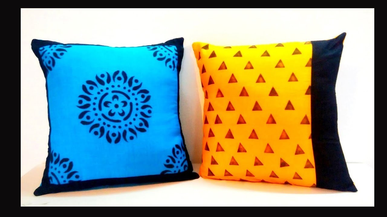 DIY : DESIGNER CUSHION COVER : Use Left over fabric to make beautiful cushion covers: HOME DECOR