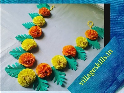 Diy door hanging Toran with crepe paper,diy garland for God,how to make bandanwar,marigold garland