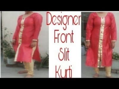 DIY : Front Slit Kurti Cutting And Stitching. Designer kurti