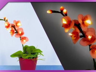 DIY How to make LED light nylon pantyhose orchid, light up flower (ENG Subtitles) - Speed up #442