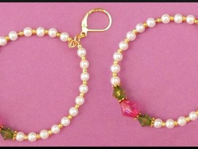 DIY | Memory wire | Perlen Ohrringe | Beaded bicone earrings | Beadwork jewelry accessories