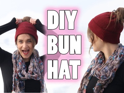 DIY MESSY BUN HAT | NO CROCHET (EASY)