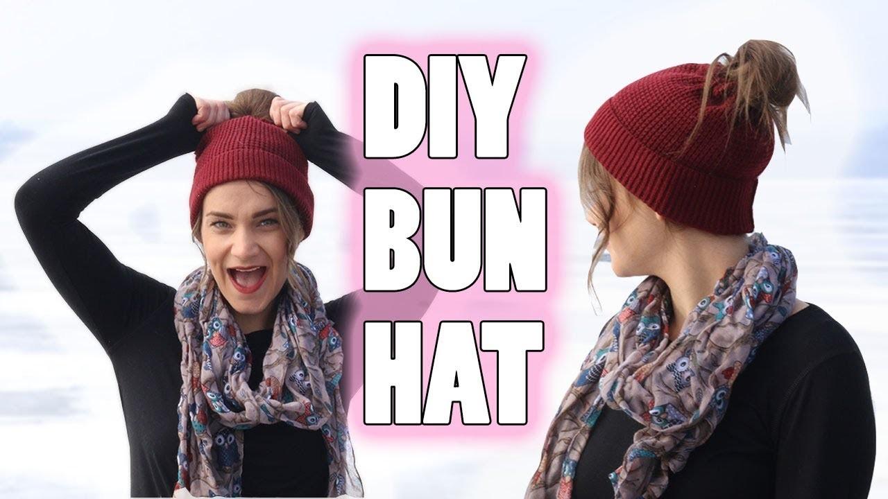 DIY MESSY BUN HAT | NO CROCHET (EASY)