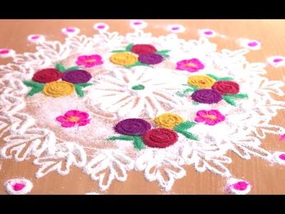 Easy Rangoli - Guldasta Design 2018 | How to make easy rangoli?