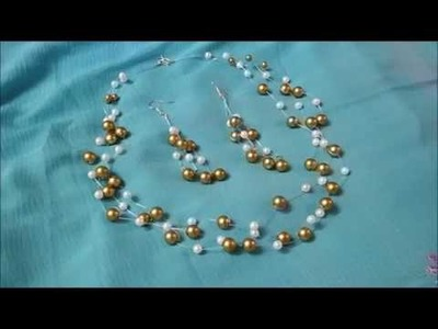 Elegant Floating. Invisible Pearls Necklace & Earrings Making. tutorial. DIY