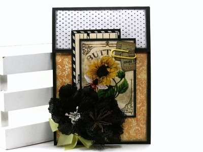 Fancy Fold Bee Greeting Card Tutorial Polly's Paper Studio Handmade DIY Process Vintage Craft Art